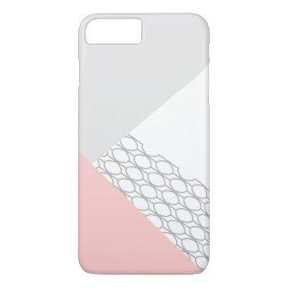 Capa iPhone 8 Plus/7 Plus Coral cinzento geométrico moderno