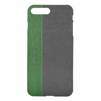 Capa iPhone 8 Plus/7 Plus Couro preto & verde elegante do vintage