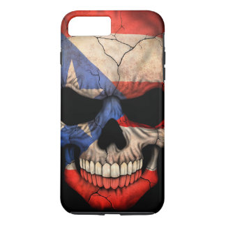 Capa iPhone 8 Plus/7 Plus Crânio da bandeira de Puerto Rico no preto