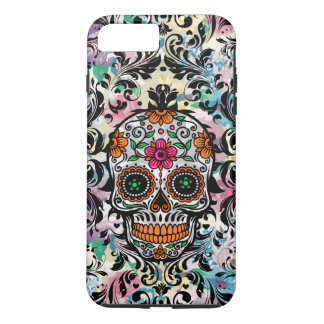 Capa iPhone 8 Plus/7 Plus Crânio floral colorido do açúcar & redemoinhos do