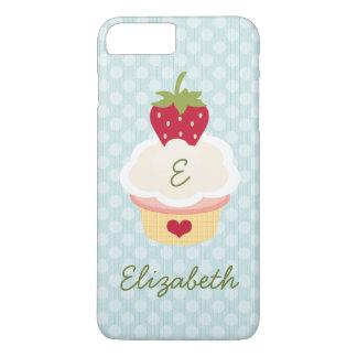Capa iPhone 8 Plus/7 Plus Cupcake Monogrammed azul da morango