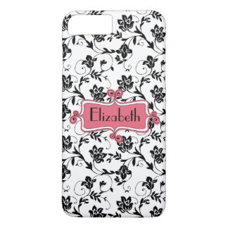 Capa iPhone 8 Plus/7 Plus Damasco preto cor-de-rosa personalizado