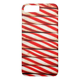 Capa iPhone 8 Plus/7 Plus Decoração vermelha listrada do White Christmas do