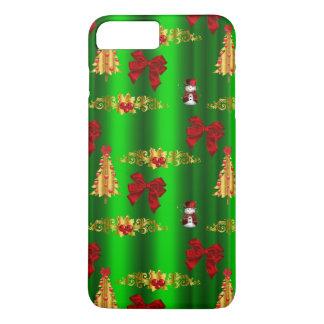 Capa iPhone 8 Plus/7 Plus Decorações do Natal no verde