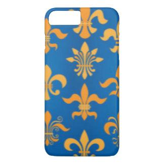 Capa iPhone 8 Plus/7 Plus Design azul do impressão do teste padrão da flor