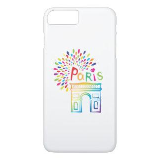 Capa iPhone 8 Plus/7 Plus Design de néon de Paris France | Arco do Triunfo |