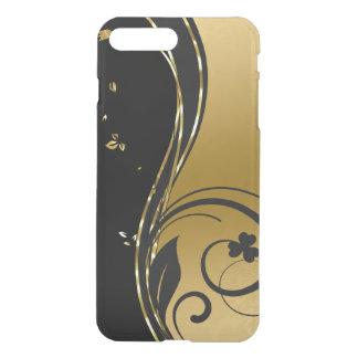 Capa iPhone 8 Plus/7 Plus Design floral dos redemoinhos do ouro preto &