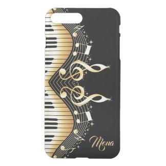 Capa iPhone 8 Plus/7 Plus Design Monogrammed das notas da música do preto e