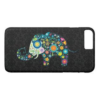 Capa iPhone 8 Plus/7 Plus Design retro colorido bonito do elefante da flor