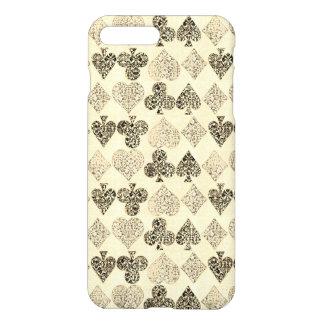 Capa iPhone 8 Plus/7 Plus Diamante bege Antiqued envelhecido do coração do