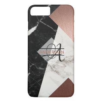Capa iPhone 8 Plus/7 Plus Do preto cor-de-rosa do ouro do mármore do