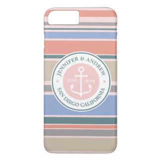 Capa iPhone 8 Plus/7 Plus Do rosa na moda das listras do monograma da âncora