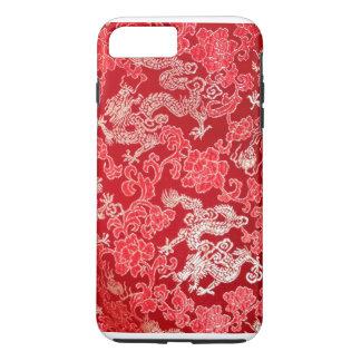 Capa iPhone 8 Plus/7 Plus Dragão imperial chinês asiático do ouro na seda