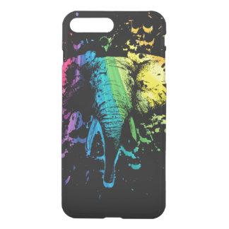 Capa iPhone 8 Plus/7 Plus Elefante de Bull do arco-íris no preto