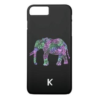 Capa iPhone 8 Plus/7 Plus elefante de néon floral tribal colorido