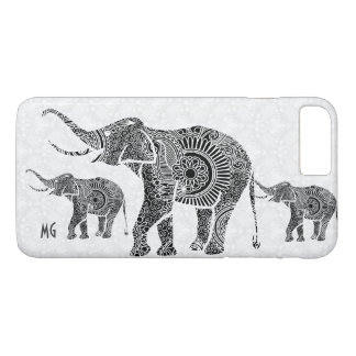 Capa iPhone 8 Plus/7 Plus Elefante-Monograma floral preto & branco de