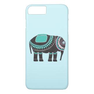 Capa iPhone 8 Plus/7 Plus Elefante ornamentado preto bonito, legal, original