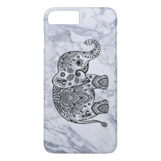 Capa iPhone 8 Plus/7 Plus Elefante preto de Paisley com mármore branco