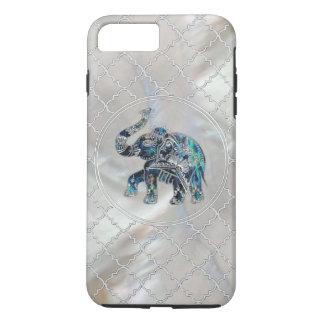 Capa iPhone 8 Plus/7 Plus Elefante quadro prata no olmo e na pérola