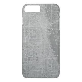 Capa iPhone 8 Plus/7 Plus Esboço do mapa da cidade de Chicago