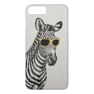 Capa iPhone 8 Plus/7 Plus Esboço engraçado bonito legal da zebra com vidros
