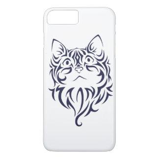 Capa iPhone 8 Plus/7 Plus Estêncil dianteiro da cara do gatinho do gato do
