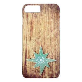 Capa iPhone 8 Plus/7 Plus Estrela do Natal no fundo de madeira da textura
