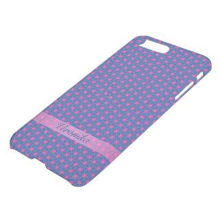Capa iPhone 8 Plus/7 Plus Estrelas cor-de-rosa em um fundo azul