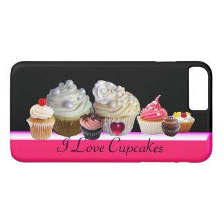 Capa iPhone 8 Plus/7 Plus EU AMO CUPCAKES DELICIOSOS rosa, branco fúcsia
