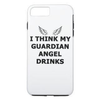 Capa iPhone 8 Plus/7 Plus Eu penso minhas bebidas do anjo-da-guarda