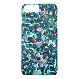 Capa iPhone 8 Plus/7 Plus Faísca fotográfica azul bonita Bling dos Sequins