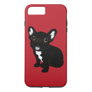 Capa iPhone 8 Plus/7 Plus Filhote de cachorro rajado bonito de Frenchie