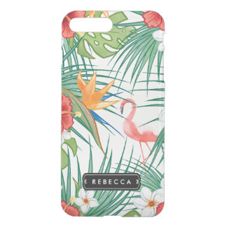 Capa iPhone 8 Plus/7 Plus Flamingo cor-de-rosa floral tropical de Luau
