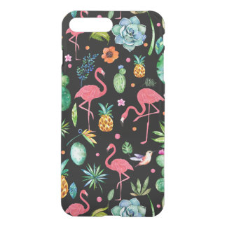 Capa iPhone 8 Plus/7 Plus Flamingos cor-de-rosa & colagem tropical GR2 das