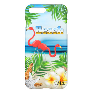 Capa iPhone 8 Plus/7 Plus Flamingos cor-de-rosa no monograma da praia |