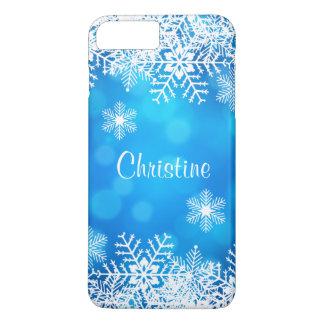 Capa iPhone 8 Plus/7 Plus Flocos de neve brancos chiques do Natal azul