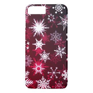 Capa iPhone 8 Plus/7 Plus Flocos de neve do inclinação de Borgonha do Natal
