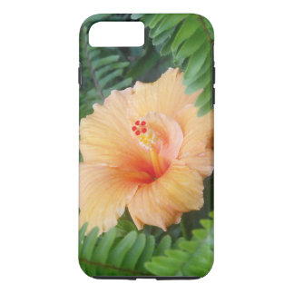 Capa iPhone 8 Plus/7 Plus Flor alaranjada do hibiscus com samambaias