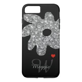 Capa iPhone 8 Plus/7 Plus flor bonito do brilho com nome & inicial