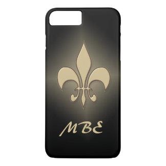 Capa iPhone 8 Plus/7 Plus Flor de lis preta do ouro