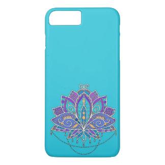 Capa iPhone 8 Plus/7 Plus Flor de Lotus colorida brilhante na cerceta azul