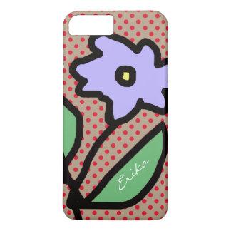 Capa iPhone 8 Plus/7 Plus flor, pontos & nome azuis
