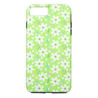 Capa iPhone 8 Plus/7 Plus Floral branco bonito