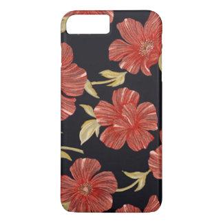 Capa iPhone 8 Plus/7 Plus Floral vermelho do preto elegante do vintage