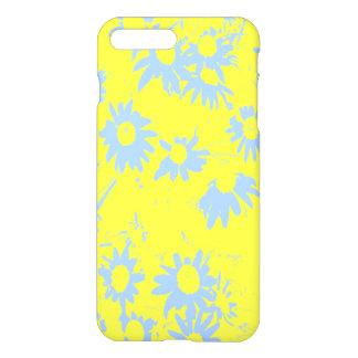 Capa iPhone 8 Plus/7 Plus Flores azuis do cone com fundo amarelo