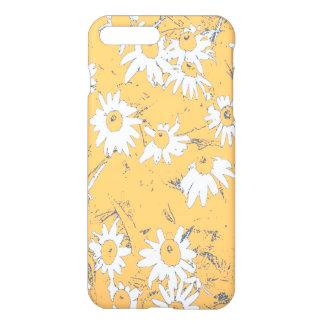 Capa iPhone 8 Plus/7 Plus Flores brancas do cone com fundo alaranjado