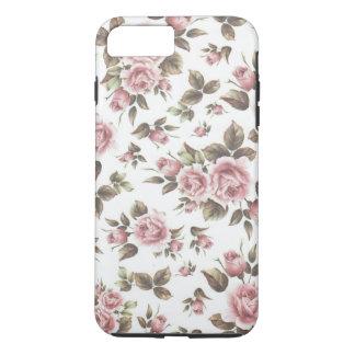 Capa iPhone 8 Plus/7 Plus Flores chiques dos rosas do marrom do rosa pastel