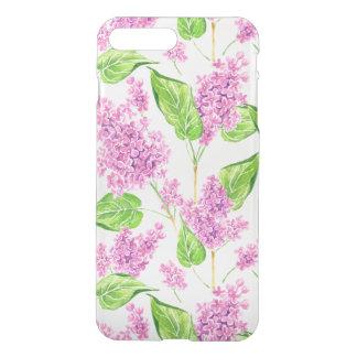 Capa iPhone 8 Plus/7 Plus Flores cor-de-rosa do lilac da aguarela