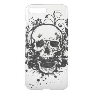 Capa iPhone 8 Plus/7 Plus Flores preto e branco do redemoinho do crânio do