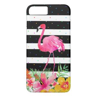 Capa iPhone 8 Plus/7 Plus Flores tropicais do flamingo bonito & listras